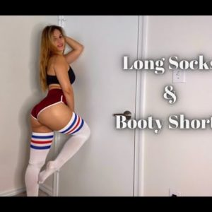 Long Socks and Booty Shorts Try On Haul