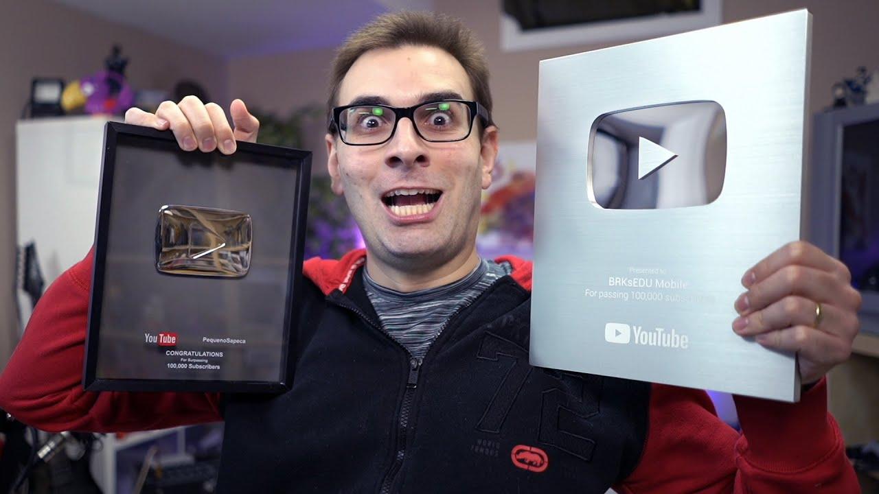 Mostrando Placas do YouTube de 100k e 1 Milhão de Inscritos | #shorts